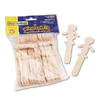 "People-Shaped Wood Craft Sticks, 5 3/8"", Wood, Natural, 36/Pack"