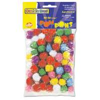 "Glitter Pompons, 1/2"" Multicolored Glitter Poms, Assorted Colors, 80/Pack"