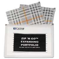 ZipNGo Expanding Portfolio, Letter, 13 Pockets, Plaid/Clear, 1/EA