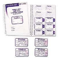 Time's Up Self-Expiring Visitor Badges w/Registry Log, 2 x 3, White, 150/Box