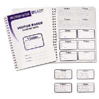 Visitor Badges with Registry Log, 2 x 3 1/2, White, 150/BX