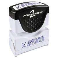 Accustamp2 Shutter Stamp with Microban, Blue, APPROVED, 1 5/8 x 1/2