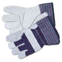 Split Leather Palm Gloves, Gray, Pair-12010M