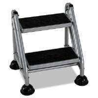 Rolling Commercial Step Stool, 2-Step, 19 7/10 Spread, Platinum/Black