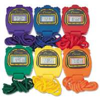 Water-Resistant Stopwatches, 1/100 Second, Assorted Colors, 6/Box