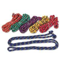 Braided Nylon Jump Ropes, 8-ft., 6 Assorted Color Jump Ropes/Set