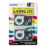 Tape Cassettes for KL Label Makers, 9mm x 26ft, Black on White, 2/Pack