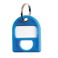 Replacement Key Tags, 3/4 x 1, Plastic, Blue, 8/Pack