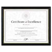 Two-Tone Document/Diploma Frame, Wood, 8-1/2 x 11, Black w/Gold Leaf Trim