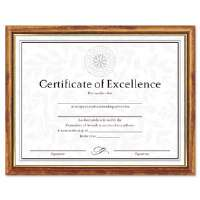 Two-Tone Document/Diploma Frame, Wood, 8-1/2 x 11, Maple w/Gold Leaf Trim