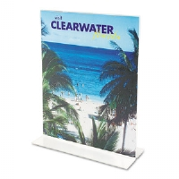 Stand-Up Double-Sided Sign Holder, Plastic, 4 x 6, Clear