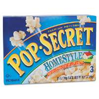 Microwave Popcorn, Homestyle, 3.5 oz Bags, 3 Bags/Box