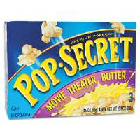 Microwave Popcorn, Movie Theater Butter, 3.5 oz Bags, 3 Bags/Box