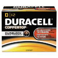 CopperTop Alkaline Batteries with Duralock Power Preserve Technology, D, 12/Pack