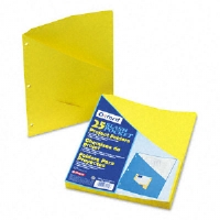 Essentials Slash Pocket Project Folders, 3 Holes, Letter, Yellow, 25/Pack