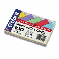 ESSELTE CORPORATION Index Cards, Ruled on 1 Side, 4x6, 100/PK, Assorted