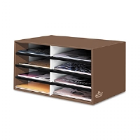 Decorative Eight Compartment Literature Sorter, Letter Size, Mocha Brown