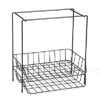 Wire Double Tray with Hanging File, Letter, 13 5/8 x 10 1/16 x 14 7/8, Black