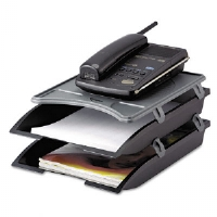 Telephone Stand with Stackable Letter Size Paper Trays, Black/Gray