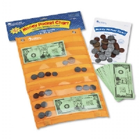 Money Pocket Chart with 115 Play Coins and 50 Play Bills, 9 3/4 x 16 1/2