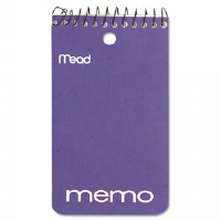 "Memo Book, College Ruled, 3"" x 5"", Wirebound, Punched, 60 Sheets, Assorted"