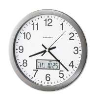 Chronicle Wall Clock with LCD Inset, 14in, Gray