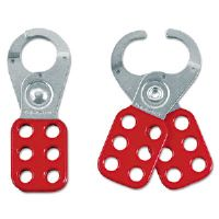 Steel Lockout Hasps, Steel/Vinyl, 1 3/4&quot;, Red