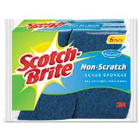 "Non-Scratch Multi-Purpose Scrub Sponge, 4 2/5 x 2 3/5"", Blue, 6/Pack"