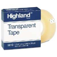 "Transparent Tape, 3/4"" x 1296"", 1"" Core, Clear-5910341296"