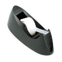 "C15 Desktop Tape Dispenser, Attached 1"" core, Black"