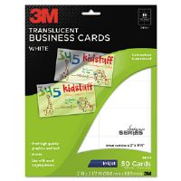 Inkjet Translucent Business Cards, 2 x 3 1/2, White, 50/PK