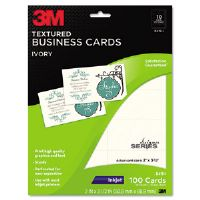 Inkjet Textured Business Cards, 2 x 3 1/2, White, 100/PK