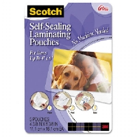 Self-Sealing Laminating Pouches, 9.5 mil, 4 3/8 x 6 3/8, Photo Size, 5/Pack