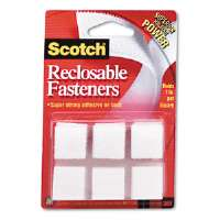 Reclosable Hook and Loop Fastener Squares, 7/8&quot; Wide, White, 24 Sets/Pack