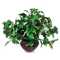 Artificial Ivy Plant in a Mahogany Fiberglass Pot, 8&quot; Overall Height