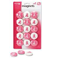 "Breast Cancer Awareness Magnets, Pink/White, 1 1/8"" Dia., 15/Pack"