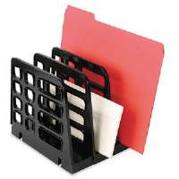 Recycled Expandable Sorter, 3-Compartment, Plastic, 8 x 8 x 7 1/4, Black