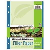 Ecology Filler Paper, 8-1/2 x 11, College Ruled, 3-Hole Punch, WE, 150 Sheets/PK