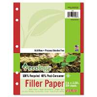 Ecology Filler Paper, 16-lb., 8 x 10-1/2, Wide Ruled, White, 150 Sheets/Pack