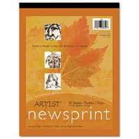 Art1st Newsprint Pads, 30 lbs., 9 x 12, White, 50 Sheets/Pad