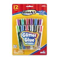 Washable Glitter Glue Pens, Assorted, .36 oz Tube, 12/Pack