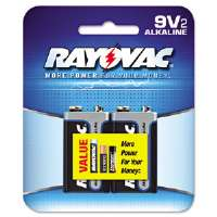 Alkaline Batteries, 9V, 2/Pack, Recloseable Pkg