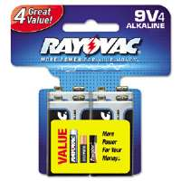 Alkaline Batteries, 9V, 4/Pack