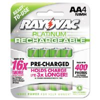 Platinum Rechargeable NiMH Batteries, AA, 4 per Pack