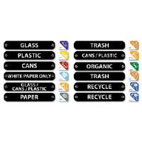 Recycle Label Kit, 44 Labels in Three Languages, 8 x 1-1/2