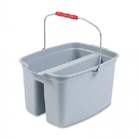 19-Quart Double Utility Pail, 18 x 14-1/2 x 10, Gray Plastic