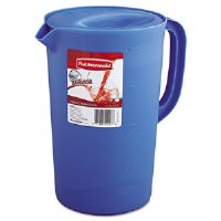 Plastic Three-Way-Lid Pitcher, 1gal, Blue