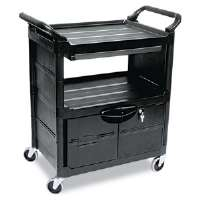 Utility Cart w/Locking Doors, 2-Shelf, 33-5/8w x 18-5/8d x 37-3/4h, Black