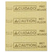 Over-the-Spill Pads, Polypropylene, Caution Wet Floor, Yellow, 16-1/2&quot;W x 20&quot;L