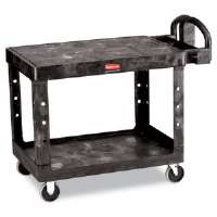 Flat Shelf Utility Cart, 2-Shelf, 25-1/4w x 44d x 38-1/8h, Black